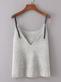 Contrast PU Strap Knit Cami Top - Romwe Contrast PU Strap Knit Cami Topone-size Source by - ideas for women Knitwear Fashion, Knit Fashion, Fashion Outfits, Womens Fashion, Pull Beige, Summer Knitting, Knitted Tank Top, Cami Tops, Crochet Clothes