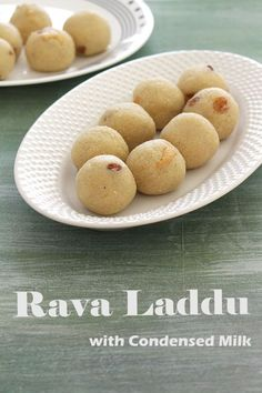 Rava laddu recipe - EASY ladoo recipe made with semolina and sweetened condensed milk. The texture of this rava ladoo is soft and almost melt in your mouth kind. Easy Ladoo Recipe, Rava Laddu Recipe, Laddoo Recipe, Indian Desserts, Indian Sweets, Indian Snacks, Indian Food Recipes, Milk Recipes, Sweets Recipes
