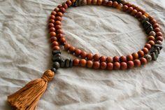 Redwood mala beads, yoga mala, yoga jewelry, mala necklace, boho necklace. $34.00, via Etsy.