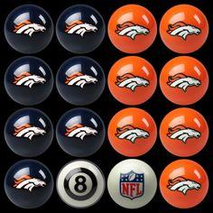 Denver Broncos Home vs Away Billiard Balls ..... rack'em up boys!