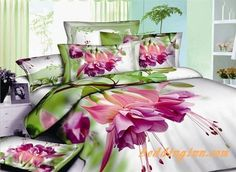 #flowers #cotton #bedding  Debonaire 4 Piece Cotton Bedding Sets with Pink Flowers Green Leaves  Buy link-->http://goo.gl/hRokWQ Live a better life,start with @beddinginn