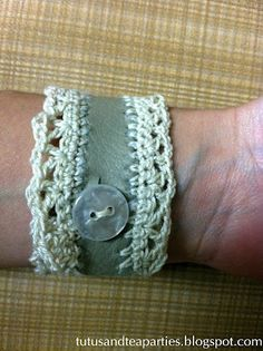 Tutus and Tea Parties: Leather & Lace {DIY Crochet Leather Cuff}