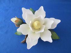 Andrea by Sadek White Magnolia Flower  & Bud Porcelain Figurine
