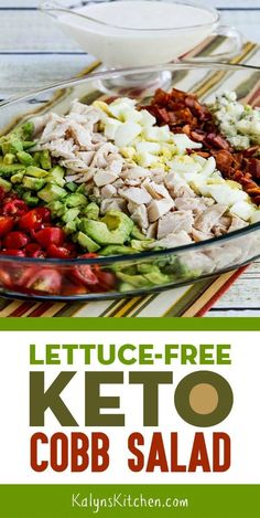 Lettuce-Free Keto Cobb Salad has all the Cobb Salad ingredients you love without the lettuce. We thinned the blue cheese dressing with some buttermilk but if you're eating Keto you can use cream or half and half if you prefer. Ketogenic Recipes, Low Carb Recipes, Diet Recipes, Cooking Recipes, Healthy Recipes, Slimfast Recipes, Cobb Salad Ingredients, Cena Keto, Comida Keto