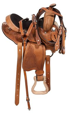 This gorgeous youth Western pleasure saddle speaks of expert workmanship and attention to detail perfect for your little cowpoke. An extra-deep, dark-brown suede padded seat, leather-wrapped padded stirrups, and a padded fleece under-panel provide comfort and security for any rider. This saddle's beautiful tan leather is set off by hand-carved conchos and floral and basket-weave tooling. Blevins buckles make the stirrups easily adjustable. ONLY $249.99