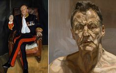 Left: The Brigadier, Private Collection © The Lucian Freud Archive. Right: Reflection (Self-portrait), 1985 Private Collection, Ireland © The Lucian Freud Archive. Lucian Freud, Sigmund Freud, Jesse Thomas, Artists And Models, Figure Painting, Figurative Art, Art Photography, Francis Bacon, Portraits