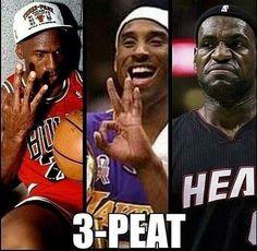 Jordan got a 3peat, Kobe got a 3peat, and Lebron... Well, he couldn't do it lmao