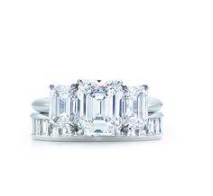Tiffany & Co. | Emerald Cut Three Stone Engagement Ring & Diamond Wedding Band-- dream rings!!