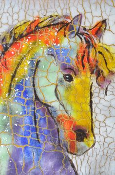 Nancy Cann fused glass batik; painting with glass on glass