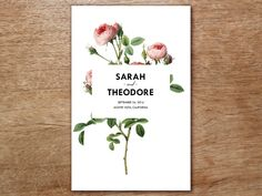 Vintage roses and bold typography make this a wedding ceremony template to remember! Just enter your wedding ceremony program wording, print and fold! Two people can easily make 100 in about 20 minutes.