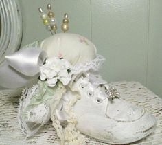 Shabby Toddler Baby Shoe Pincushion WHITE by PinkPaperRose on Etsy, $16.00