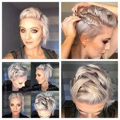 I'll bet I could style my new hair cut like this! Up Hairstyles, Pretty Hairstyles, Braided Hairstyles, Wedding Hairstyles, Short Hair Dos, Short Hair Styles, Hair Affair, Bad Hair, Hair Today