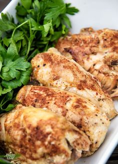 Simple Slow Cooker Chicken. A simple and easy recipe for making tender chicken breasts in the slow cooker, perfect for bulk prep or easy weeknight dinners.