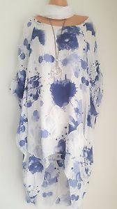 New-Lagenlook-White-Blue-splash-amp-scarf-Onesize-16-18-20-22-24-50-034-Bust