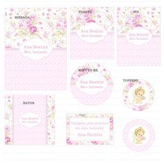 Kit Batizado Floral rosa e branco anjinha Charme Papeteria - Kits digitais www.charmepapeteria.com