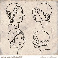 1920's Vintage Ladies Hat Designs at www.milliande-printables.com from our Vintage Womens Hat Printables, How to Draw Hats, Millinery Inspiration on Vintage Hat Styles, free to print