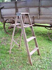 Antique Wooden Folding Ladder ~ Old Vtg Primitive Shelf Rustic Barn Decor