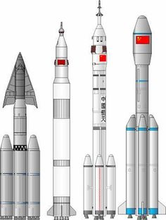 Chinese launch vehicles for human spaceflight projects. From left: Tsien Spaceplane Launcher, 1978; Project 921 Launch Vehicle, 1992; CZ-2F, 1999; CZ-2E(A), 2000. Only the last two were put into full-scale development.