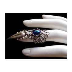 Silver Plated Claw Ring Gothic Goth Gothik Jewel Vampire Witch Finger... ❤ liked on Polyvore featuring jewelry, rings, jewel rings, gothic jewelry, dark blue stone jewelry, dark blue ring and stone rings