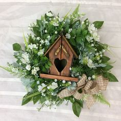 Your place to buy and sell all things handmade Wooden Bird Houses, Decorative Bird Houses, Wreaths For Front Door, Door Wreaths, Etsy Wreaths, Fall Scarecrows, Scarecrow Wreath, Welcome Fall, Dusty Miller