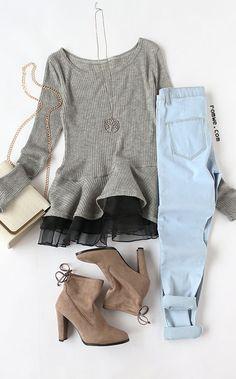 Grey Contrast Chiffon Scoop Neck Sweater