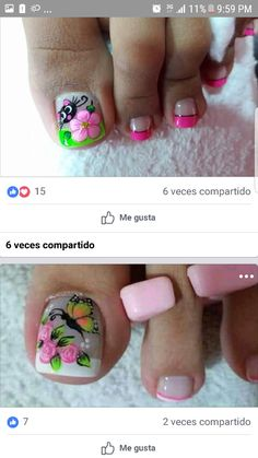 Uñas lindas Pedicure Designs, Pedicure Nail Art, Toe Nail Designs, Toe Nail Art, Cute Toe Nails, Pretty Nails, Hair And Nails, My Nails, Cute Pedicures