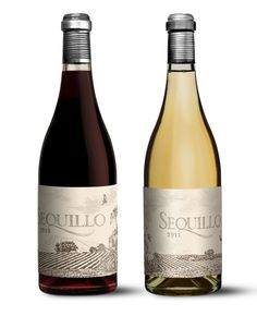 """Label Design: Sequillo Wine Label designed by Eben Sadie. - illustration of the abandoned harvesting machine is in line with the """"back to the roots"""" message of this year's labels. It is obviously not really necessary to explain the advantages of picking by hand versus doing so with a machine; and then there are also the social-economic realities that machines bring with them and that have a strong impact on any society. 