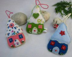 Felt Christmas ornaments Handmade felt houses by PuffinPatchwork