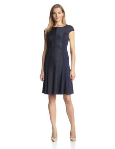 Sand Dune Jersey Fit-and-Flare Dress by Anne Klein