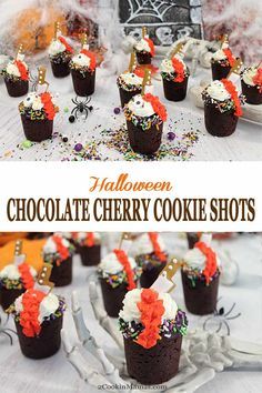 Spooky Chocolate Cherry Cookie Shots are perfect for Halloween. Chocolate cookies, filled with cherries & topped with whipped cream & sprinkles. Chocolate Cherry Cookies, Chocolate Desserts, Chocolate Lovers, Cookie Shots, Cookie Cups, Halloween Chocolate, Spooky Halloween, Halloween Dishes, Halloween Treats