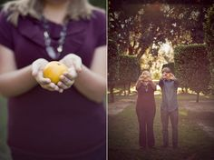 I like the photo on the left, maybe holding an apple.