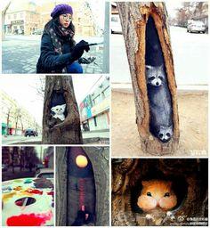 Artist: Wang Yue Location: China Foto sent by Patricia Marian Dillavou Graffiti Art, Forest Friends, Recycled Art, Outdoor Art, Land Art, Street Artists, Chinese Art, Urban Art, Landscape Paintings