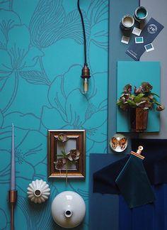 Blue mood board featuring helleborus wallpaper by farrow and ball. deep navy velvet fabric. teal interiors. teal decor.