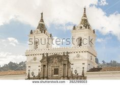 Low angle view of ancient San Franciso catholic church located in the historic center of Quito in Ecuador.