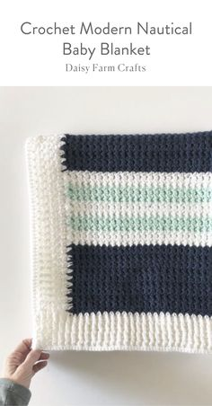 Free Pattern - Crochet Modern Nautical Baby Blanket