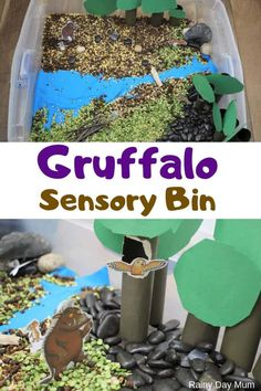 The Gruffalo Sensory Bin for Toddlers and Preschoolers - The Gruffalo inspired sensory bin for toddlers and preschoolers made with natural materials and dow - Gruffalo Activities, Sensory Activities For Preschoolers, Nursery Activities, Preschool Art, Infant Activities, Toddler Preschool, Toddler Crafts, Preschool Activities, Sensory Boxes