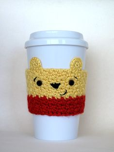 Its Winnie the Pooh! Keep your hands protected from hot coffee cups with this sweet little bear cozy. This cozy would make a great gift for
