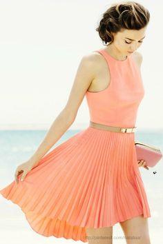 peach pleated dress...summer wedding!!
