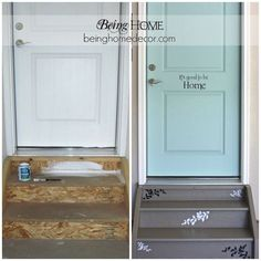 A Very Cute Idea to  make your Garage Door entry adorable! Garage Entry Makeover ~ Love it!