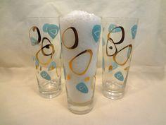 3 Retro Turquoise Gold Federal Amoeba Atomic Boomerang Tall Water Glass Barware | eBay