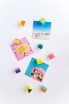 Geo Wood Magnets - Love the fun and bright colors! What a great way to brighten up a plain white fridge!