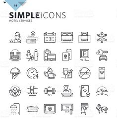 Modern thin line icons of hotel services and booking royalty-free stock vector art