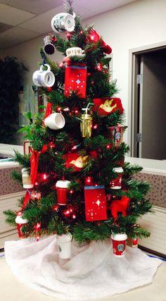 I LOVE my Starbucks tree! All my Starbucks ornaments over the years.
