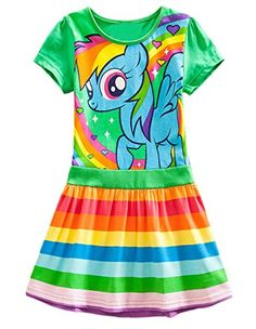 Lemonbaby My Little Pony Dress Colorful Striped Cartoon Girls Dress - http://www.darrenblogs.com/2017/02/lemonbaby-my-little-pony-dress-colorful-striped-cartoon-girls-dress/