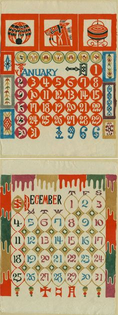 1966 Calendar - Keisuke Serizawa (芹沢 銈介 Serizawa Keisuke?, May 13, 1895 - April 5, 1984)
