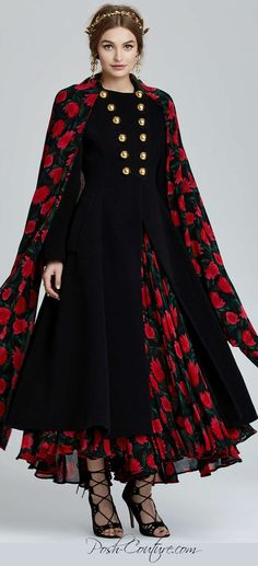 Vintage Dolce & Gabbana Lucca Floral Coat, BUY here >> http://rstyle.me/n/vrnv8rm5w . More info: From body-hugging slip dresses to floor-length stunners, our curated vintage Dolce & Gabbana collection is all about florals, feminine silhouettes, and over-the-top sexy. This black Dolce & Gabbana coat has bold gold button closures at front, a black and red floral scarf at collar, and pleated floral detailing at inner skirt. Heavy-weight, structured fit. #posh #couture