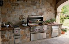 Mansory Decorative Stone Outdoor Kitchen Cabinets