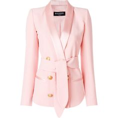 Balmain double-breasted tuxedo blazer ($2,550) ❤ liked on Polyvore featuring outerwear, jackets, blazers, pink tuxedo jacket, tux blazer, evening jackets, double-breasted blazer and dinner jacket