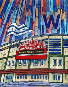 The Curse Is Broken Is A Painting Of Wrigley Field Marquee, Celebrating  That Iconic Day