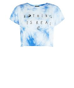 Blue and White Tie Dye Nothing Is Real Crop T-Shirt | New Look